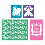 Sizzix Textured Impressions Embossing Folders 4PK - Best Friends Set