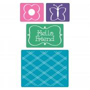 Sizzix Textured Impressions Embossing Folders 4PK - Hello Friend Set