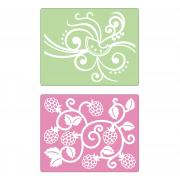 Sizzix Textured Impressions Embossing Folders 2PK - Fruit & Vine Set