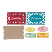 Sizzix Thinlits Die Set 14PK - Gift Card Box Embellishments