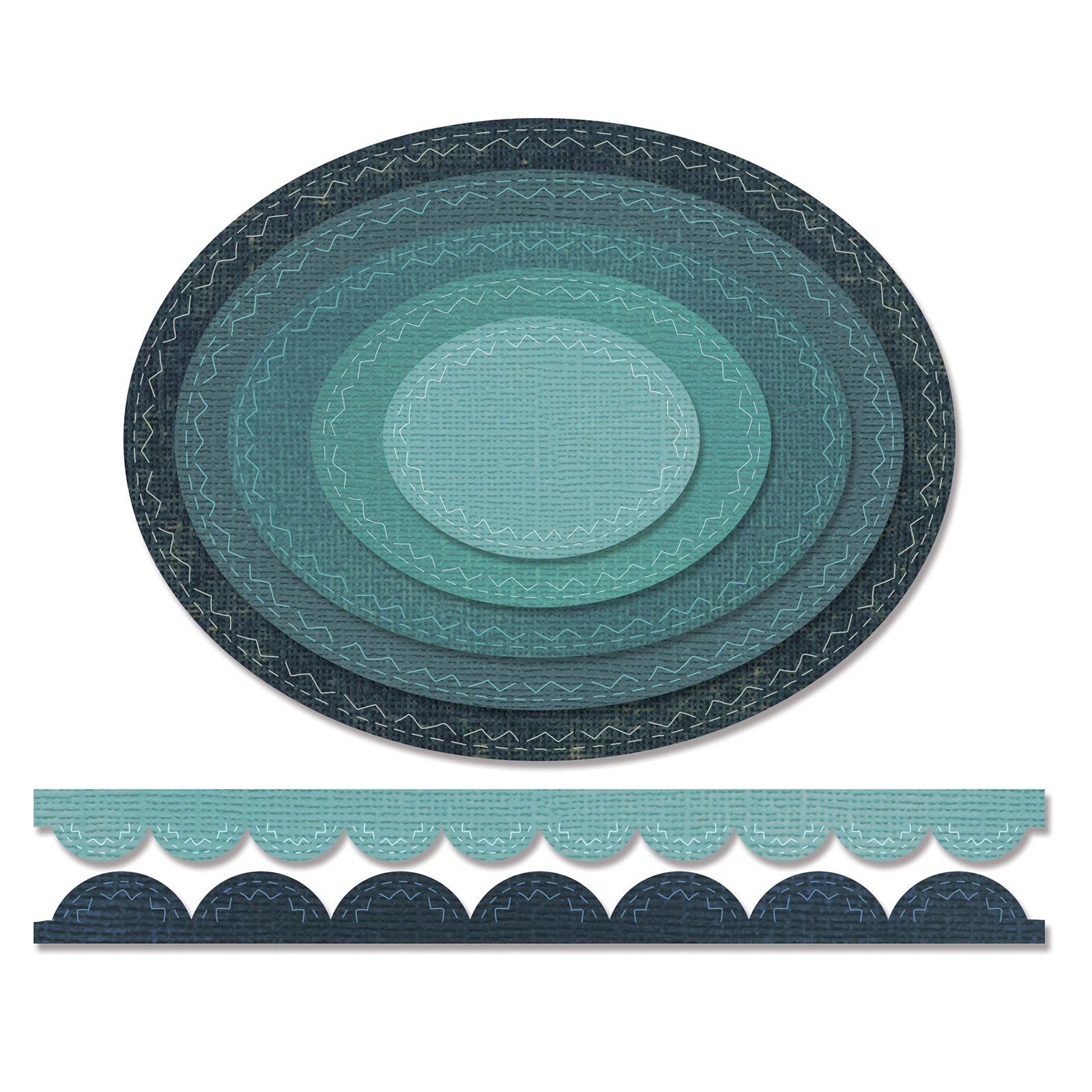 Sizzix Thinlits Die Set 7PK - Stitched Ovals