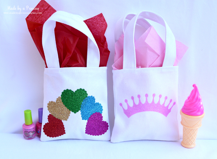 sizzix goody bags with glitter vinyl hearts and tiara