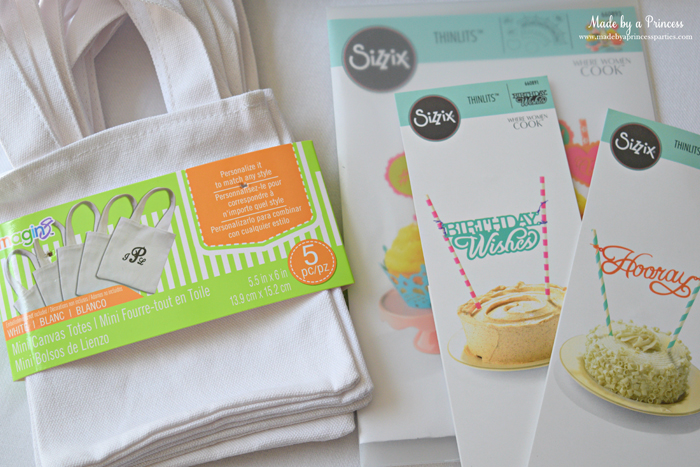sizzix goody bags with glitter vinyl supplies
