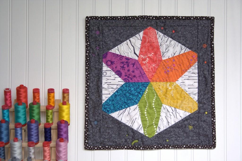 rainbow hex star mini quilt nightquilter
