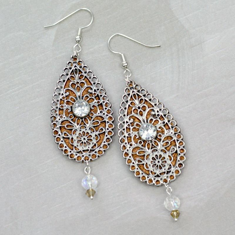 Embellished Leather Teardrop Earrings 10