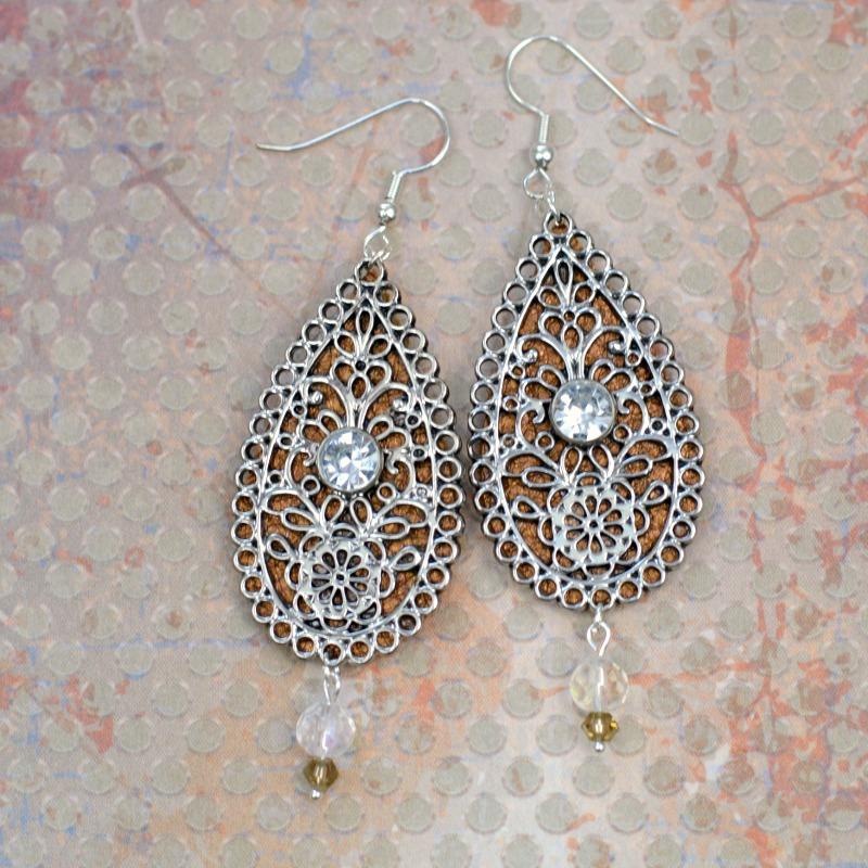 Embellished Leather Teardrop Earrings 11