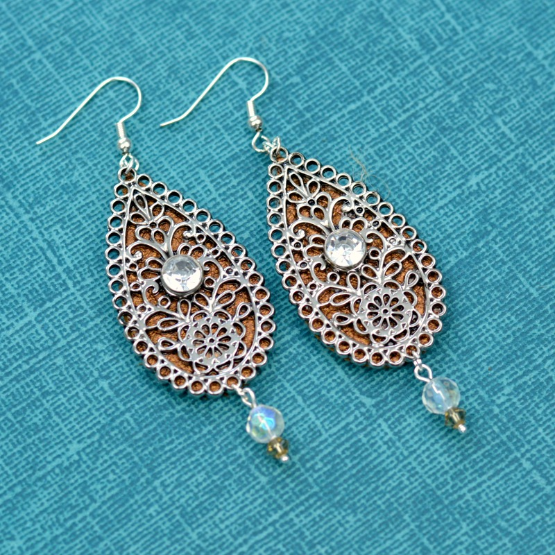 Embellished Leather Teardrop Earrings 9